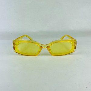 awesome rectangular translucent yellow sunglasses